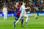 Marco Asensio Willemsen of Real Madrid (R) fights for the ball with Sasa Lukic of Levante UD (L) during the La Liga 2017-18 match between Levante UD and Real Madrid at Estadio Ciutat de Valencia on 03 February 2018 in Valencia, Spain. Photo by Maria Jose Segovia Carmona / Power Sport Images