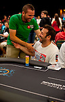 Professional golfer Sergio Garcia and Pokerstars Team Pro Juan Manuel Pastor celebrate making the money in the 2012 PCA Main Event.