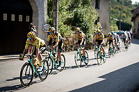 peloton with yellow jersey / GC leader Primoz Roglic (SVN/Jumbo-Visma) rolling through town<br /> <br /> Stage 19 from Bourg-en-Bresse to Champagnole (167km)<br /> <br /> 107th Tour de France 2020 (2.UWT)<br /> (the 'postponed edition' held in september)<br /> <br /> ©kramon