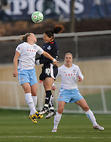 Washington Freedom midfielder Homare Sawa (10) jumps to head teh ball.   Washington Freedom tied  Chicago Red Stars 1-1  at The Maryland SoccerPlex, Saturday April 11, 2009.