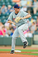 Starting pitcher Clayton Cook #33 of the Kinston Indians in action against the Winston-Salem Dash at BB&T Ballpark on June 4, 2011 in Winston-Salem, North Carolina.   Photo by Brian Westerholt / Four Seam Images