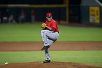 AZL Angels starting pitcher Jose Natera (87) delivers a pitch to the plate against the AZL Cubs on August 31, 2017 at Sloan Park in Mesa, Arizona. AZL Cubs defeated the AZL Angels 9-2. (Zachary Lucy/Four Seam Images)