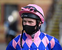 Jockey Finlay Marsh during Horse Racing at Salisbury Racecourse on 11th September 2020