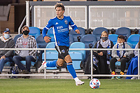 SAN JOSE, CA - MAY 01: Cade Cowell #44 of the San Jose Earthquakes looks up to pass the ball during a game between San Jose Earthquakes and D.C. United at PayPal Park on May 01, 2021 in San Jose, California.
