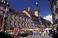 street market, Switzerland, Lausanne, Vaud, Market day in Place de la Palud in the city of Lausanne.