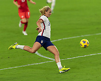 ORLANDO CITY, FL - FEBRUARY 18: Lindsey Horan #9 prepares to shoot during a game between Canada and USWNT at Exploria stadium on February 18, 2021 in Orlando City, Florida.