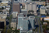 aerial photograph of Adobe Systems corporate headquarters, the Knight Ridder tower and the adjacet San Jose skyline, San Jose, California