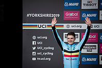 last years junior sensation (and still ONLY 19yr old) Remco Evenepoel (BEL/Deceuninck-Quickstep) comes in an amazing 2nd in this years elite race and takes the silver medal home<br /> <br /> Elite Men Individual Time Trial<br /> from Northhallerton to Harrogate (54km)<br /> <br /> 2019 Road World Championships Yorkshire (GBR)<br /> <br /> ©kramon