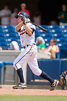 Phil Gosselin #30 of the Rome Braves follows through on his first home run as a professional during a South Atlantic League game against the Greenville Drive at State Mutual Stadium July 25, 2010, in Rome, Georgia.  Photo by Brian Westerholt / Four Seam Images
