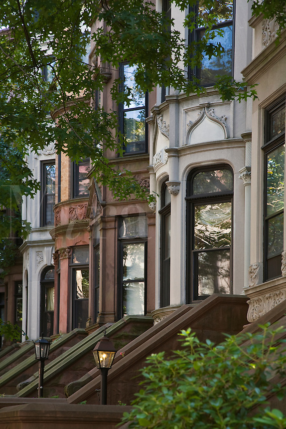 Row of BROWNSTONES and Lamp Posts- BROOKLYN - NEW YORK CITY
