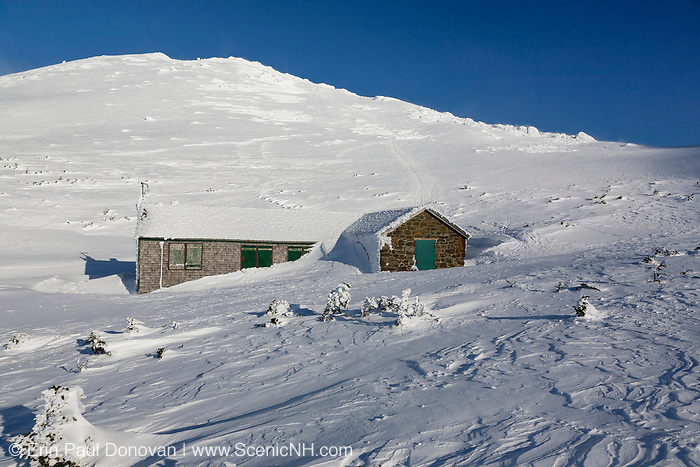 Madison Spring Hut in the New Hampshire White Mountains during the winter months. This hut is located just below Mount Madison, the northernmost peak in the Presidential Range. Originally built in 1888, this is how Madison Spring Hut looked in 2010 before it was renovated in the fall and spring months of 2010-2011.