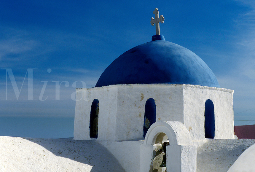 church, Paros, Greece, Greek Islands, Naoussa, Cyclades, Europe, Whitewashed church with blue dome in the town of Naoussa on Paros Island.