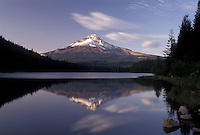 AJ3738, Mount Hood, mirror, Oregon, Reflection of the snow covered Mt. Hood in the calm waters of Tillium Lake in Mount Hood National Forest in the state of Oregon.