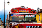 """Front cab of a Guatemalan """"Chicken Bus;"""" colorfully painted transportation that cheaply and efficiently carry locals throughout Guatemala"""