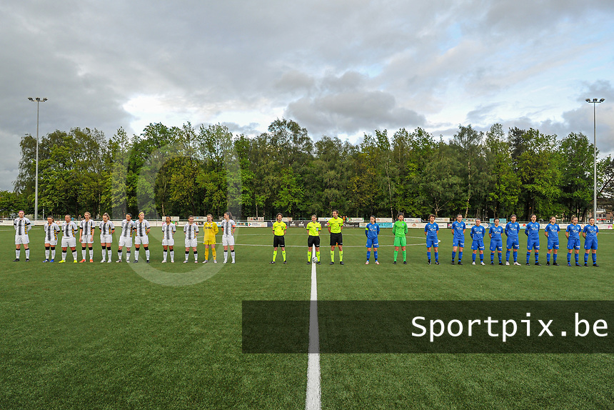line-up Sporting Charleroi ( Estelle Dessilly (13) , Jeanne Bouchenna (10) , Megane Vos (16) , Ludmila Matavkova (9) , Renate-Ly Mehevets (15) , Alysson Duterne (14) , Madison Hudson (8) , Jessica Silva Valdebenito (18) , Chrystal Lermusiaux (2) , goalkeeper Ambre Collet (1) , Noemie Fourdin (22) ) , assistant referee Maarten Linart , referee Viki De Cremer , assistant referee Gianni Seeldraeyers KRC Genk ( Sien Vandersanden (10) , goalkeeper Maren van Wijngaarden (50) , Lotte Van Den Steen (15) , Sterre Gielen (14) , Fleur Pauwels (66) , Silke Sneyers (2) , Lorene Martin (6) , Gwen Duijsters (13) , Jorien Voets (20) , Luna Vanhoudt (43) , Emily Steijvers (33) ) pictured before a female soccer game between Sporting Charleroi and Eendracht Aalst on the 8th matchday in play off 2 of the 2020 - 2021 season of Belgian Scooore Womens Super League , tuesday 18 th of May 2021 in Marcinelle , Belgium . PHOTO SPORTPIX.BE   SPP   STIJN AUDOOREN