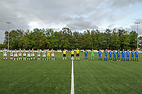 line-up Sporting Charleroi ( Estelle Dessilly (13) , Jeanne Bouchenna (10) , Megane Vos (16) , Ludmila Matavkova (9) , Renate-Ly Mehevets (15) , Alysson Duterne (14) , Madison Hudson (8) , Jessica Silva Valdebenito (18) , Chrystal Lermusiaux (2) , goalkeeper Ambre Collet (1) , Noemie Fourdin (22) ) , assistant referee Maarten Linart , referee Viki De Cremer , assistant referee Gianni Seeldraeyers KRC Genk ( Sien Vandersanden (10) , goalkeeper Maren van Wijngaarden (50) , Lotte Van Den Steen (15) , Sterre Gielen (14) , Fleur Pauwels (66) , Silke Sneyers (2) , Lorene Martin (6) , Gwen Duijsters (13) , Jorien Voets (20) , Luna Vanhoudt (43) , Emily Steijvers (33) ) pictured before a female soccer game between Sporting Charleroi and Eendracht Aalst on the 8th matchday in play off 2 of the 2020 - 2021 season of Belgian Scooore Womens Super League , tuesday 18 th of May 2021 in Marcinelle , Belgium . PHOTO SPORTPIX.BE | SPP | STIJN AUDOOREN