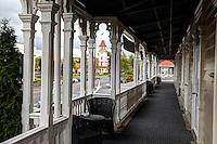 Rotorua Clock Tower from Balcony of Princes Gate Hotel.