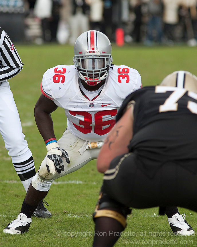 Ohio State linebacker Brian Rolle. The Purdue Boilermakers defeated the Ohio State Buckeyes 26-18 at Ross-Ade Stadium, West Lafayette, Indiana on October 17, 2009..