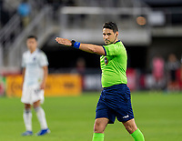 WASHINGTON, DC - MAY 13: Referee Ramy Touchan makes a call during a game between Chicago Fire FC and D.C. United at Audi FIeld on May 13, 2021 in Washington, DC.