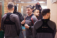 Pictured: Players prepare before training. Thursday 18 January 2018<br /> Re: Players and staff of Newport County Football Club prepare at Newport Stadium, for their FA Cup game against Tottenham Hotspur in Wales, UK