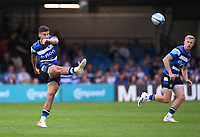 25th September 2021; The Recreation Ground, Bath, Somerset, England; Gallagher Premiership Rugby, Bath versus Newcastle Falcons; Orlando Bailey of Bath gets the match underway