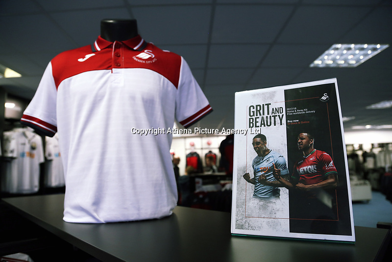 Pictured: Training wear. Saturday 01 July 2017<br /> Re: The new 2017-2018 season, Swansea City FC kit has officially gone on sale at the club's Liberty Stadium shop, Wales, UK