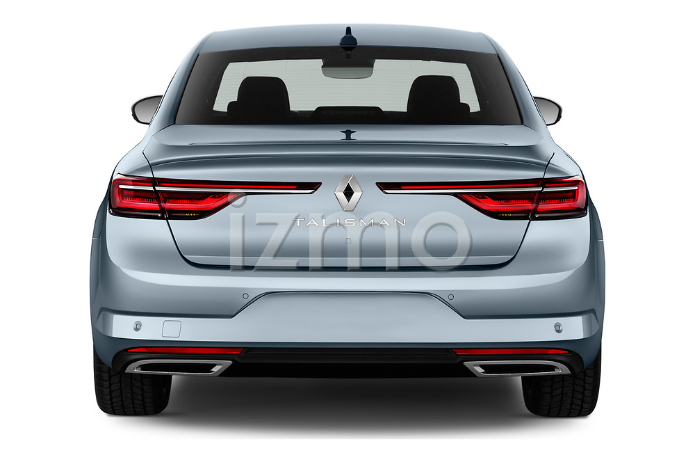 Straight rear view of 2021 Renault Talisman Intens 4 Door Sedan Rear View  stock images