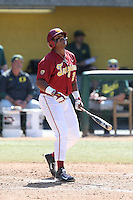 Timmy Robinson (28) of the Southern California Trojans bats during a game against the Oregon Ducks at Dedeaux Field on April 18, 2015 in Los Angeles, California. Oregon defeated Southern California, 15-4. (Larry Goren/Four Seam Images)