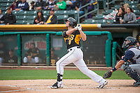 Josh Rutledge (8) of the Salt Lake Bees at bat against the Colorado Springs Sky Sox in Pacific Coast League action at Smith's Ballpark on May 22, 2015 in Salt Lake City, Utah.  (Stephen Smith/Four Seam Images)