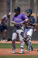 Colorado Rockies second baseman Max George (3) at bat during an Extended Spring Training game against the San Diego Padres at Peoria Sports Complex on March 30, 2018 in Peoria, Arizona. (Zachary Lucy/Four Seam Images)