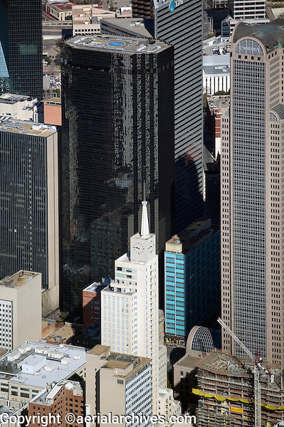 aerial photograph of Thanksgiving Tower and Comerica Bank Tower, Dallas, Texas
