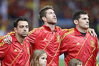 Spain's national team Xavi Hernandez, Sergio Ramos and Iker Casillas during match. October 16, 2012. (ALTERPHOTOS/Alvaro Hernandez) /NORTEPhoto