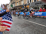 Team USA drive the pace at the front of the race up Parliment Street in Harrogate on his way to winning the Men's Junior Road Race of the UCI World Championships 2019 running 148km from Richmond to Harrogate, England. 26th September 2019.<br /> Picture: Seamus Yore | Cyclefile<br /> <br /> All photos usage must carry mandatory copyright credit (© Cyclefile | Seamus Yore)