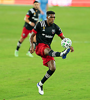 WASHINGTON, DC - SEPTEMBER 06: Donovan Pines #23 of D.C. United controls the ball during a game between New York City FC and D.C. United at Audi Field on September 06, 2020 in Washington, DC.