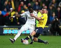 Marvin Emnes of Swansea and Joe Skarz of Oxford United   during the Emirates FA Cup 3rd Round between Oxford United v Swansea     played at Kassam Stadium  on 10th January 2016 in Oxford