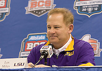 LSU head coach Les Miles smiles while talking with the reporters during BCS Media Day at Mercedes-Benz Superdome in New Orleans, Louisiana on January 6th, 2012.