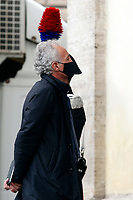 Journalist Marco Travaglio during the funeral of the Italian actor Gigi Proietti. The actor was taken to the Globe Theatre for a short ceremony before the one in the church of Artist in Piazza del popolo.<br /> Rome (Italy), November 5th 2020<br /> Photo Samantha Zucchi Insidefoto