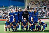 Seattle, WA - Sunday, May 21, 2017: Seattle Reign FC starting eleven during a regular season National Women's Soccer League (NWSL) match between the Seattle Reign FC and the Orlando Pride at Memorial Stadium.