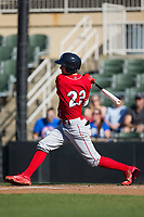 Mickey Moniak (22) of the Lakewood BlueClaws follows through on his swing against the Kannapolis Intimidators at Kannapolis Intimidators Stadium on April 9, 2017 in Kannapolis, North Carolina.  The BlueClaws defeated the Intimidators 7-1.  (Brian Westerholt/Four Seam Images)