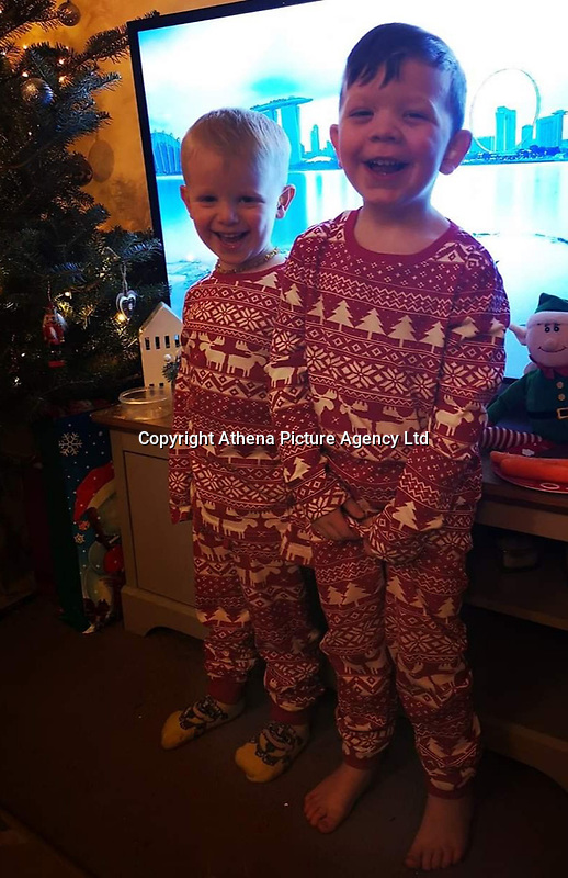 Pictured: Zach Harvey (left) with brother Harley Harvey (right)<br /> Re: Three-year-old Zach Harvey was killed in a caravan fire in the early hours of Sunday morning at Ffair Rhos, near Tregaron, Ceredigion, west Wales.<br /> His father Shaun Harvey and his four year old brother Harley is in a critical but stable condition in hospital and his dad's condition is stable.<br /> The fire service said a touring caravan and vehicle were completely destroyed and adjacent property damaged in the blaze.<br /> Emergency services had been called to the scene at 5.35am on Sunday.