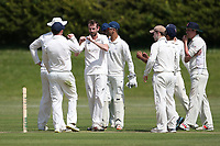 A Smith of Billericay celebrates with his team mates after taking the wicket of J Sorrell during Billericay CC vs Hornchurch CC (batting), Hamro Foundation Essex League Cricket at the Toby Howe Cricket Ground on 12th June 2021