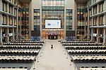 Justus Lipsius Atrium del Consejo Europeo, destinado como espacio de trabajo para periodistas durante las Cumbres de jefes de Estado en la sede del Consejo europeo en Bruselas. © delmi alvarez