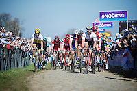 peloton over the Oude Kwaremont cobbles for a first time today<br /> <br /> 100th Ronde van Vlaanderen 2016