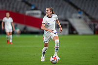 TOKYO, JAPAN - JULY 21: Tierna Davidson #12 of the United States on the ball during a game between Sweden and USWNT at Tokyo Stadium on July 21, 2021 in Tokyo, Japan.
