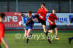 Tussle in the air between Park FC's Shane Jordan and  Aoghdan McGarealth of Kenmare in the Dominos Pizza Challenge Final