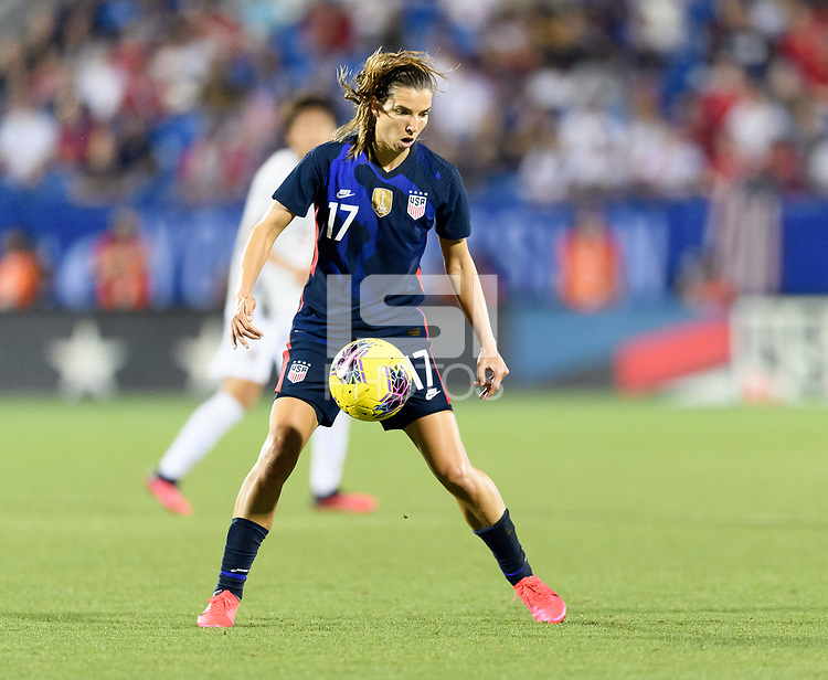 FRISCO, TX - MARCH 11: Tobin Heath #17 of the United States gains control of a loose ball against Japan during a game between Japan and USWNT at Toyota Stadium on March 11, 2020 in Frisco, Texas.