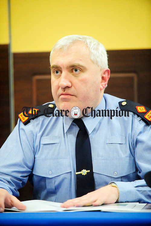 Superintendent John Scanlon at the Community Awareness meeting in the West County Hotel.Pic Arthur Ellis.