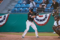 San Jose Giants right fielder Logan Baldwin (1) during a California League game against the Visalia Rawhide on April 13, 2019 at San Jose Municipal Stadium in San Jose, California. Visalia defeated San Jose 4-2. (Zachary Lucy/Four Seam Images)