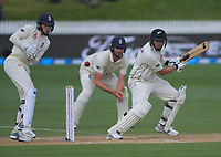 NZ's Ross Taylor bats as England's Ollie Pope and Dom Sibley look on during day four of the international cricket 2nd test match between NZ Black Caps and England at Seddon Park in Hamilton, New Zealand on Friday, 22 November 2019. Photo: Dave Lintott / lintottphoto.co.nz