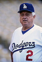 Los Angeles Dodgers Manager Tommy Lasorda at Dodger Stadium in Los Angeles,California during the 1996 season. (Larry Goren/Four Seam Images)
